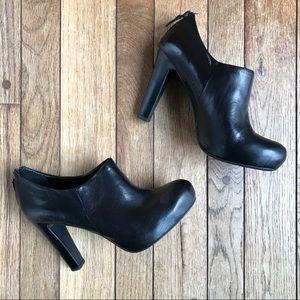 Franco Sarto Black Leather High Heels Ankle Zipper